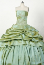 Brand New Ball Gown Strapless Floor-length Yellow Green Taffeta Beading Quinceanera dress Style FA-L-0s41