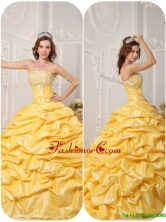 Cheap Ball Gown Pick Ups and Appliques Quinceanera Gowns QDZY008BFOR