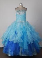 Cheap Ball Gown Strapless Floor-length Blue Quinceanera Dress X0426017