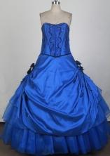 Cheap Ball Gown Strapless Floor-length Blue Quinceanera Dress X0426074