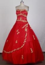 Cheap Ball Gown Strapless Floor-length Florid Quinceanera Dress X0426065