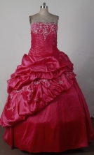 Cheap Ball Gown Strapless Floor-length Red Quinceanera Dress X0426014