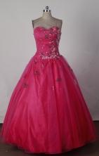 Cheap Ball Gown Strapless Floor-length Red Quinceanera Dress X0426022