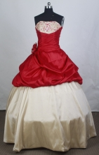 Cheap Ball Gown Strapless Floor-length Red Quinceanera Dress Y042657
