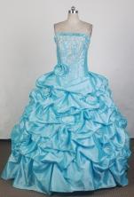 Cheap Ball Gown Strapless Floor-length Teal Blue Quinceanera Dress X0426069