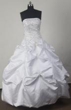 Cheap Ball Gown Strapless Floor-length White Quinceanera Dress X042607
