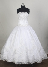 Cheap Ball Gown Strapless Floor-length White Quinceanera Dress Y042667
