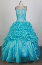 Cheap Ball Gown Straps Floor-length Aqua Quinceanera Dress LHJ42706