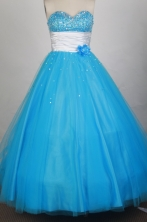 Cheap Ball Gown Sweetheart Floor-length Blue Quinceanera Dress Y042651