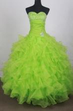 Cheap Ball Gown Sweetheart Floor-length Lime Green Quinceanera Dress LHJ42711