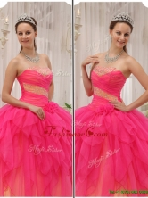Cheap Beading Strapless Quinceanera Gowns in Hot Pink QDZY370CFOR