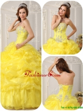 Cheap Beading and Ruffles Quinceanera Dresses in Yellow  QDZY054EFOR