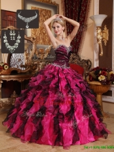 Cheap Beading and Ruffles Sweetheart Quinceanera Gowns  QDZY689DFOR