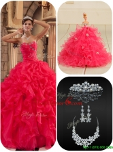 Cheap Coral Red Quinceanera Dresses with Beading and Ruffles  QDZY034-2BFOR