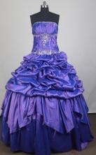 Classical Ball Gown Strapless Floor-length Blue Quinceanera Dress LZ426022