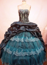 Classical Ball Gown Strapless Floor-length Navy Taffeta Ball Gown Quinceanera dress Style FA-L-260