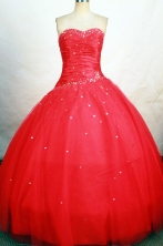 Classical Ball Gown Sweetheart Floor-length Red Beading Quinceanera dress Style FA-L-268