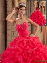 Classical Sweetheart Ruffles Quinceanera Dresses in Red   QDZY293BFOR