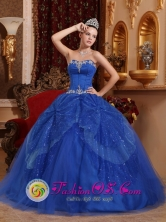 Customize Appliques and Beading Blue For Affordable Quinceanera Dress Sweetheart Tulle In Moreno  Argentina  Style QDZY364FOR