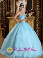 Customize Aqua Blue For Beautiful Quinceanera Dress With Sweetheart Organza Beading ball gown In Ciudad Evita  Argentina Style QDZY356FOR