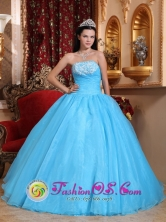 Customize Romantic Exquisite Appliques A-line Strapless Baby Blue Quinceanera Dress In Mendoza  Argentina Style QDZY615FOR