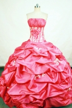Discount Ball Gown Strapless Floor-length Appliques Quinceanera Dresses Style FA-W-408