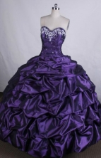 Discount Ball gown Sweetheart neck Floor-Length Appliques Purple Quinceanera Dresses Style FA-Y-115