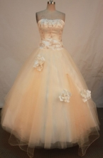 Elegant A-line Strapless Floor-length Quinceanera Dresses Appliques with Beading Style FA-Z-0247
