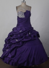 Elegant Ball Gown Strapless Floor-length Dark Purple Quinceanera Dress LJ2670