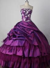 Elegant Ball Gown Strapless Floor-length Purple Taffeta Appliques Quinceanera dress Style FA-L-212