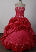 Elegant Ball Gown Strapless Floor-length Red Quinceanera Dress LJ2611