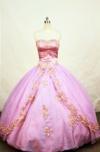 Elegant Ball Gown Strapless Floor-length Rose Pink Taffeta  Appliques Quinceanera dress Style FA-L-077