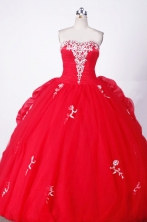 Elegant Ball Gown Sweetheart Floor-length Red Organza Appliques Quinceanera dress Style FA-L-005 w