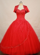 Elegant Ball Gown Sweetheart  Floor-length Red Organza Beading Quinceanera dress Style FA-L-  074