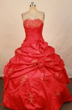 Elegant Ball Gown Sweetheart Floor-length Red Taffeta Appliques Quinceanera dress Style FA-L-297