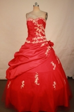 Elegant Ball Gown Sweetheart Floor-length Red Taffeta Appliques Quinceanera dress Style FA-L-300