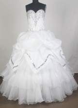 Elegant Ball Gown Sweetheart Neck Floor-length White Quinceanera Dress LZ426060