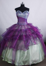Elegant Ball gown Sweetheart neck Floor-Length Purple Quinceanera Dresses Style FA-Y-110
