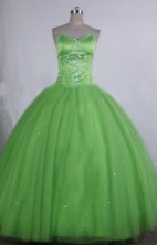 Elegant Ball gown Sweetheart neck Floor-Length Spring green Quinceanera Dresses Style FA-Y-13