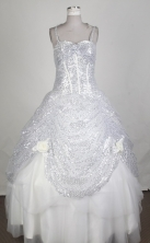 Exclusive Ball Gown Strapa Floor-length White Quincenera Dresses TD260055