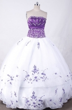Exclusive Ball Gown Strapless Floor-length White Organza Embroidery Quinceanera dress Style FA-L-007
