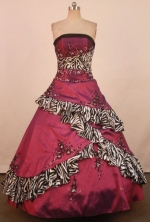 Exquisite Ball Gown Strapless Floor-Length Wine Red Applqiues Quinceanera Dresses Style FA-S-327