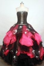Exquisite Ball Gown Strapless Floor-length Fuchsia Organza Appliques Quinceanera dress Style FA-L-241