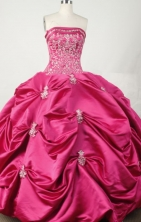 Exquisite Ball Gown Strapless Floor-length Hot Pink Taffeta Embroidery Quinceanera dress Style FA-L-032