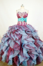 Exquisite Ball Gown Sweetheart Floor-length Burgundy Organza Appliques Quinceanera dress Style FA-L-225