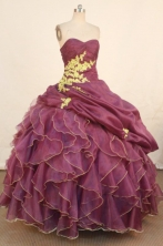 Exquisite Ball Gown Sweetheart Floor-length Dark Purple Quinceanera dress Style FA-L-3s28