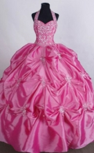 Exquisite Ball gown Halter top neck Floor-Length Rose pink Quinceanera Dresses Style FA-Y-108