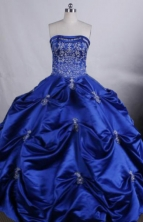 Exquisite Ball gown Strapless Floor-Length Embroidery Blue Quinceanera Dresses Style FA-Y-98