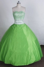 Exquisite Ball gown Sweetheart neck Floor-Length Beading Spring green Quinceanera Dresses Style FA-Y-209