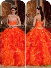 Exquisite Orange Quinceanera Gowns with Appliques and Beading for 2016   QDZY061CFOR